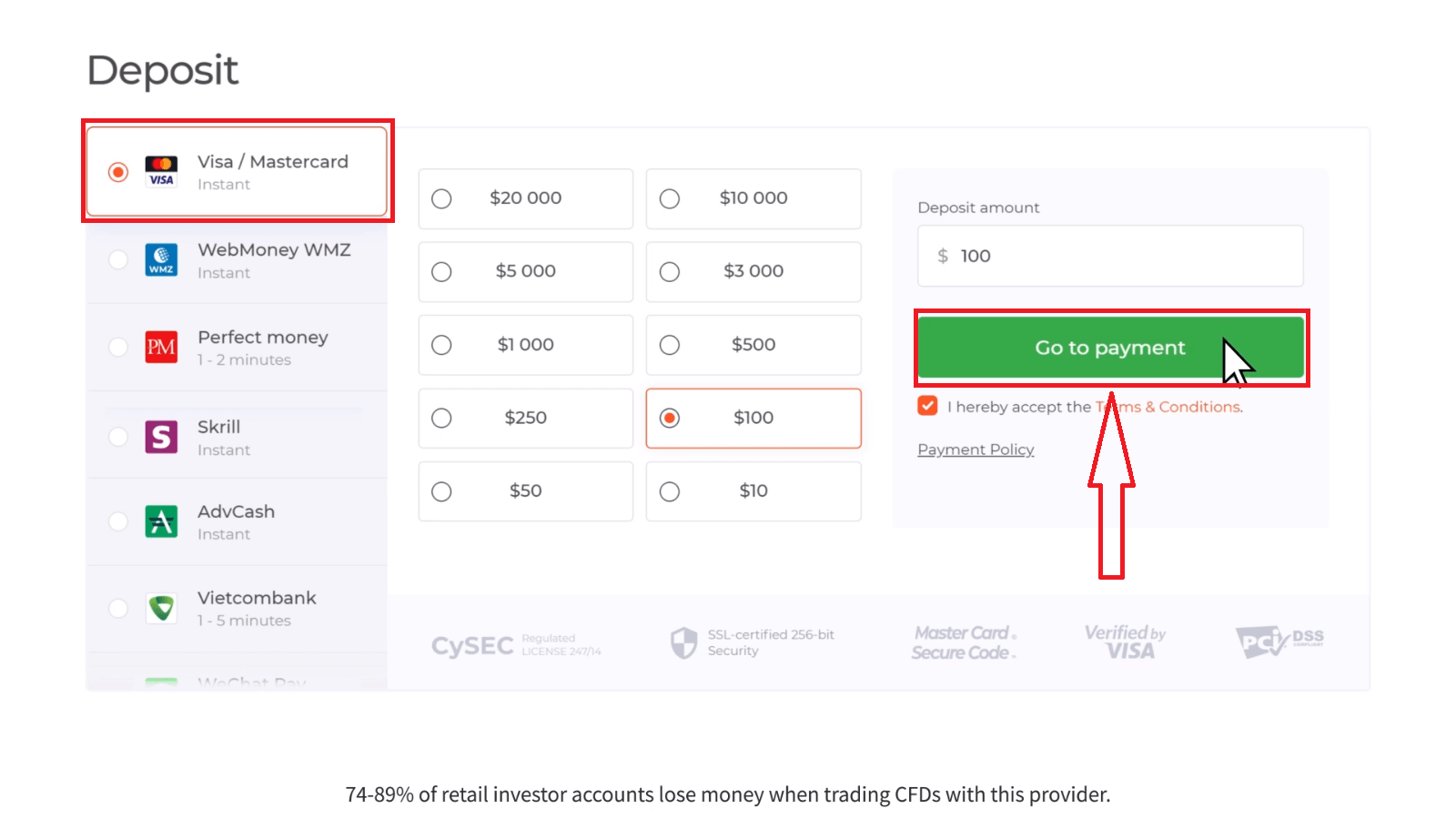 Como depositar e negociar instrumentos CFD (Forex, Crypto, Stocks) em IQ Option