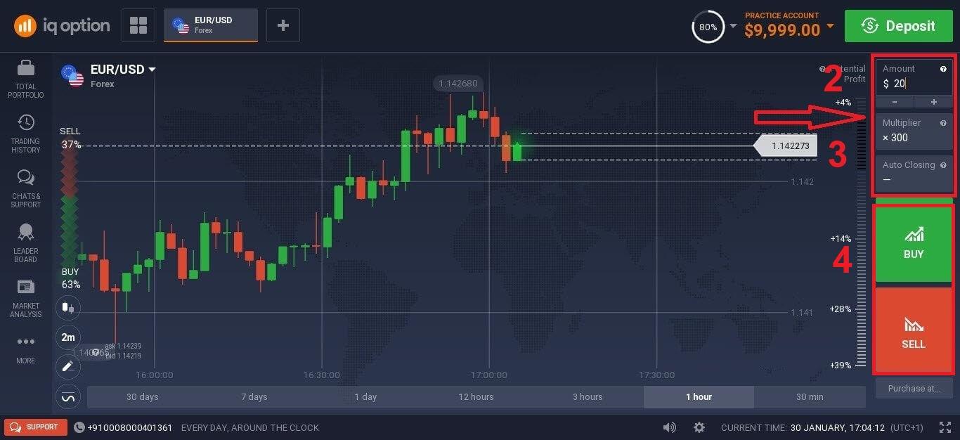 Como negociar instrumentos CFD (Forex, Crypto, Stocks) em IQ Option
